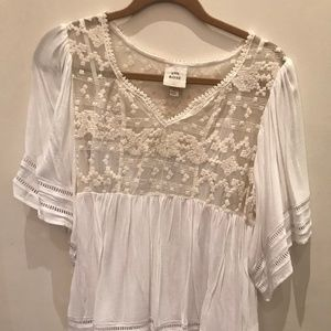 White Flowy Lace Top with Sleeves